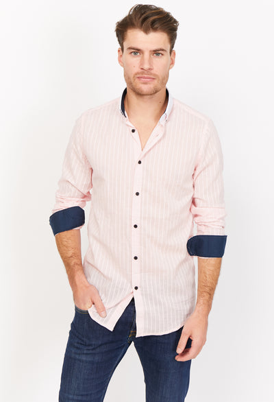 Pietro Pink Organic Button Up