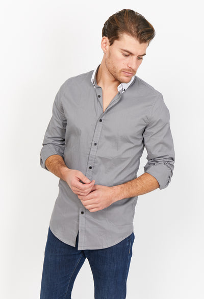 Simone Dark Gray Organic Button Up