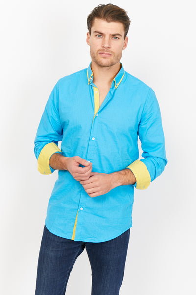 Emanuele Blue Organic Button Up