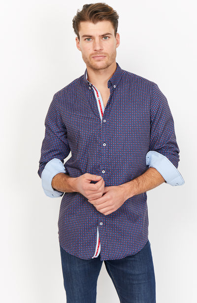 Luigi Navy Organic Button Up