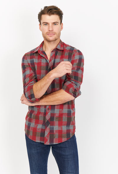 Checkered  Slim Fit Long Sleeve Button Up Dress Shirt