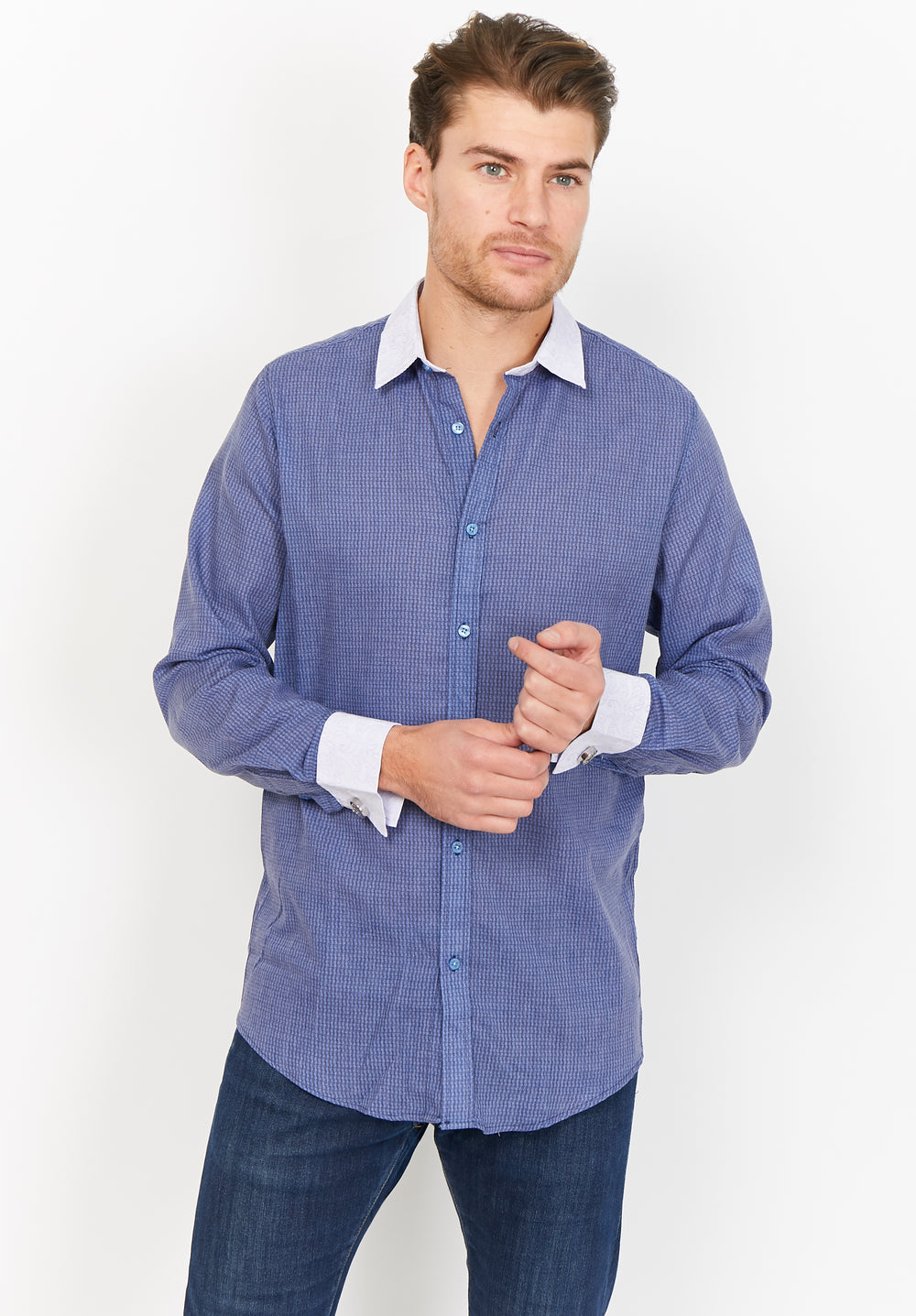 Samuel Blue with Contrast White Organic Button Up