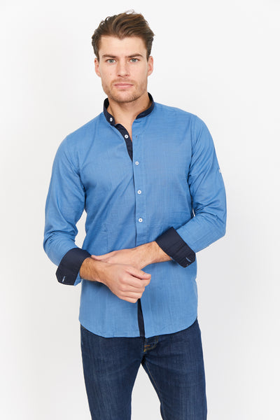 Navy Blue Slim Fit Long Sleeve Button Up Dress Shirt