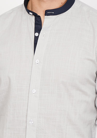 Dominic Gray Mandarin Collar Organic Button Up