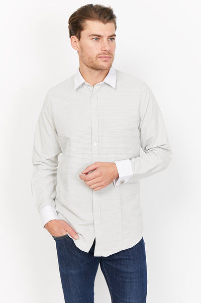 Nicola Green Mandarin Collar Organic Button Up