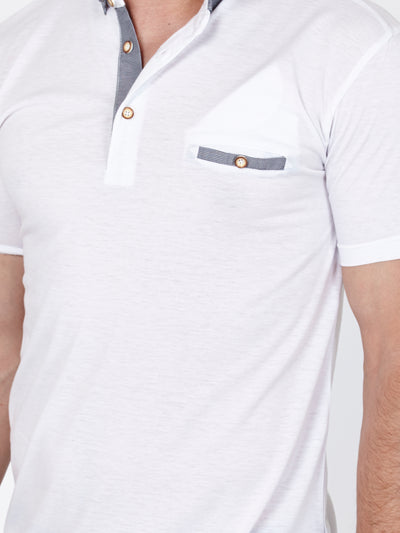 Angel White Grey Short Sleeve Polo Shirt