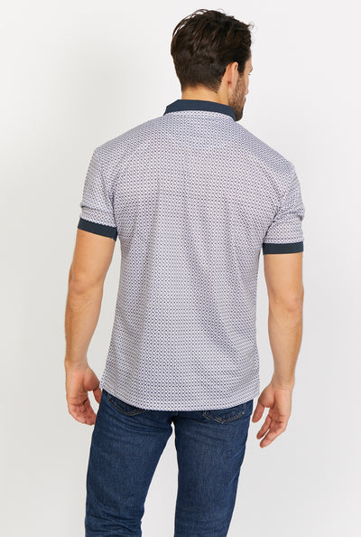 Asher White Short Sleeve Polo Shirt