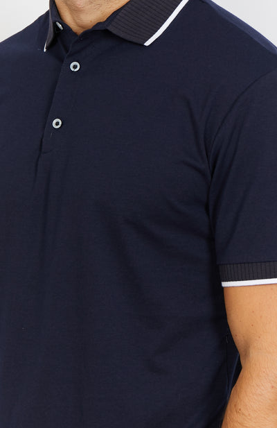 Elias Deep Blue Short Sleeve Polo Shirt