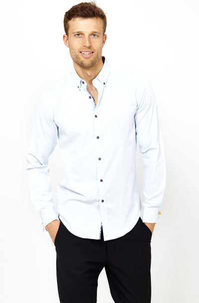 Man Wearing Button Up Dress Shirt