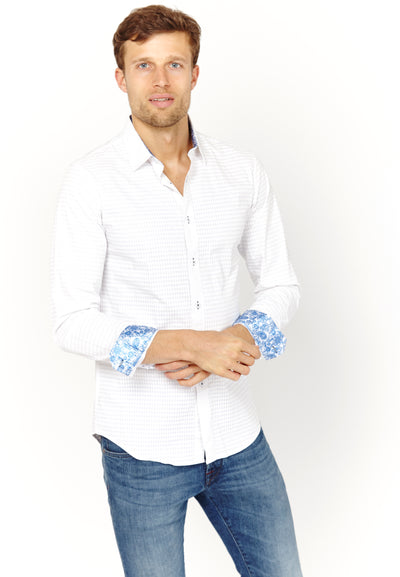 Samuel White Textured Long Sleeve Button Up Shirt