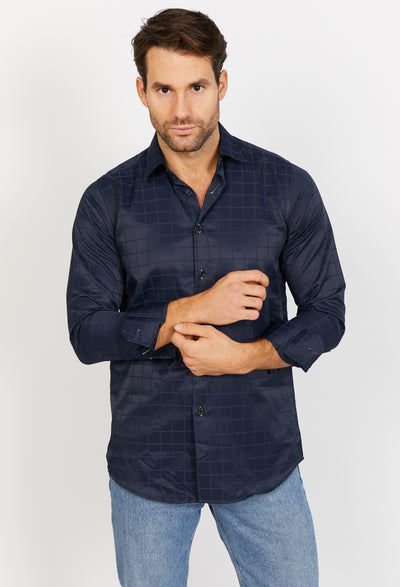 Mateo Charcoal Black Long Sleeve Button Up Shirt