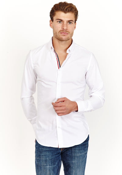 White Slim Fit Long Sleeve Button Up Dress Shirt