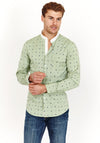 Green Slim Fit Long Sleeve Button Up Dress Shirt