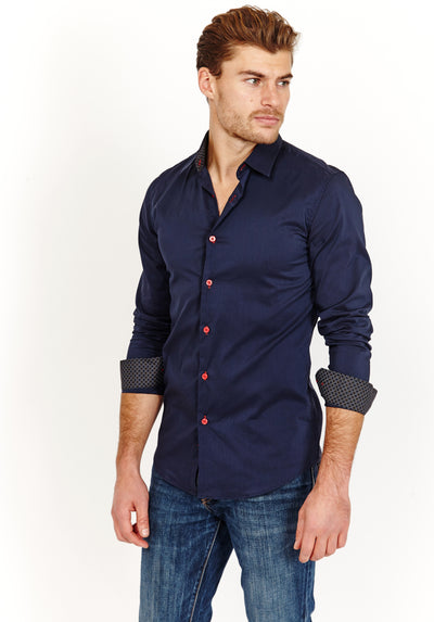 Man Wearing Navy Blue Button Up Dress Shirt