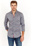 Josiah Mettalic Grey Long Sleeve Button Up Shirt