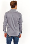 Grey Slim Fit Long Sleeve Button Up Dress Shirt