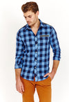 Ryan Sky Blue Checkered Long Sleeve Button Up Shirt