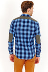 Blue Slim Fit Long Sleeve Button Up Dress Shirt