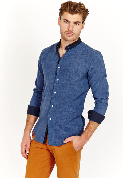 Nathan Linen Blue Long Sleeve Button Up Shirt