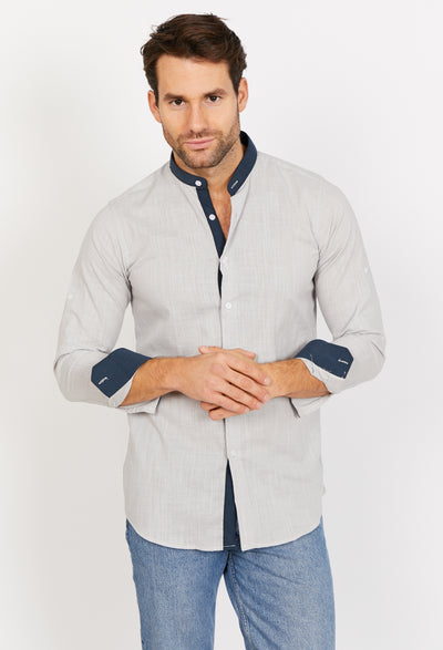 Light Gray Slim Fit Long Sleeve Button Up Dress Shirt