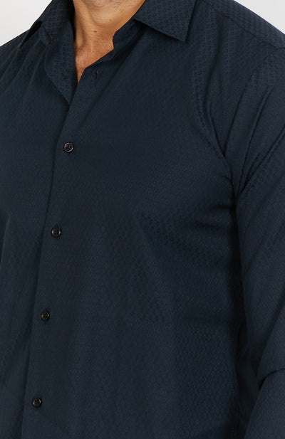 Owen Textured Black Long Sleeve Button Up Shirt