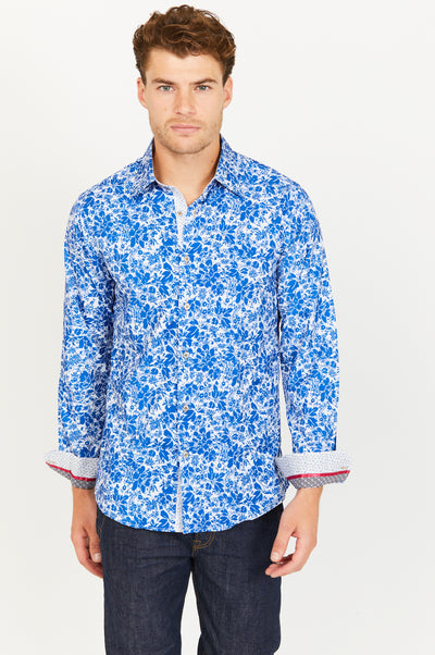 Levi Blue Paisley Long Sleeve Button Up Shirt