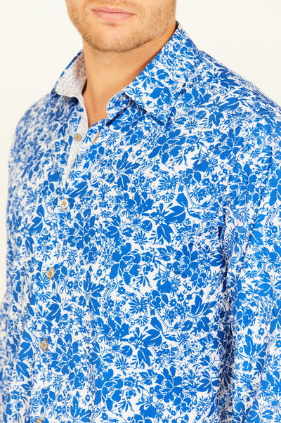 Blue Paisley Slim Fit Long Sleeve Button Up Dress Shirt