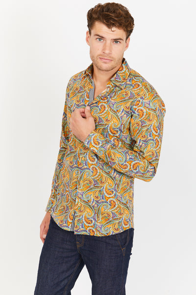 Man Wearing Paisley Button Up Dress Shirt Front View