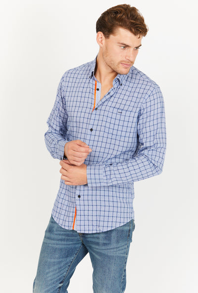 Light Blue Gray Checkered Slim Fit Long Sleeve Button Up Dress Shirt