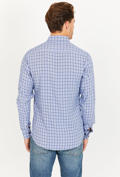 Linclon Light Blue Gray Checkered Long Sleeve Button Up Shirt