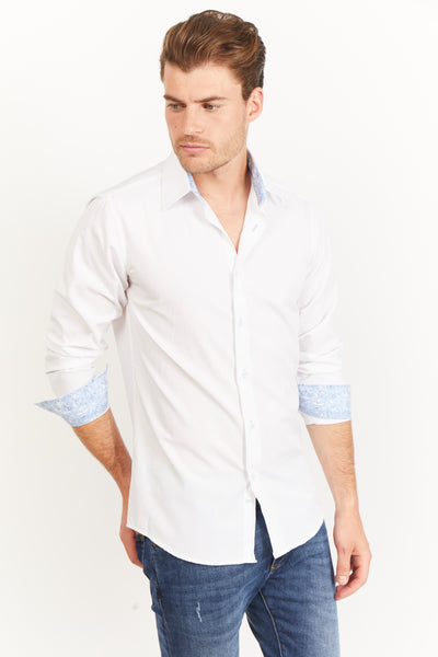 Pearl White Slim Fit Long Sleeve Button Up Dress Shirt