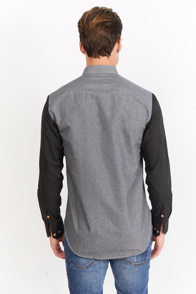 Joey Button Up Grey and Black