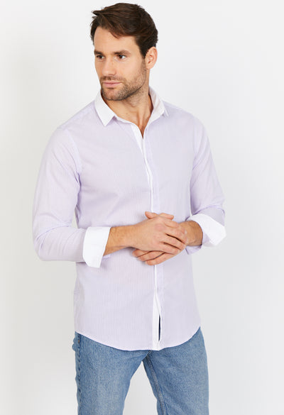 Man Wearing Pinstripe Button Up Dress Shirt