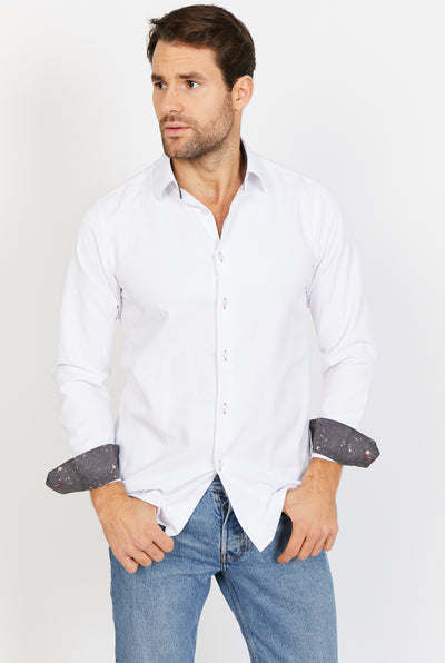 Man Wearing White Button Up Front View Dress Shirt