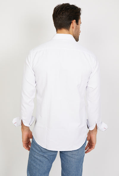 Man Wearing White Button Up Back View Dress Shirt