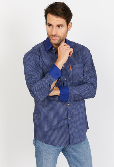 Man Wearing Blue Button Up Dress Shirt Front View