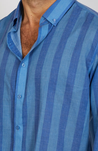 Robert Blue Stripe Long Sleeve Button Up Shirt