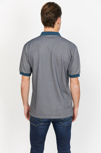 Jacob Gray and Blue Organic Polo Shirt