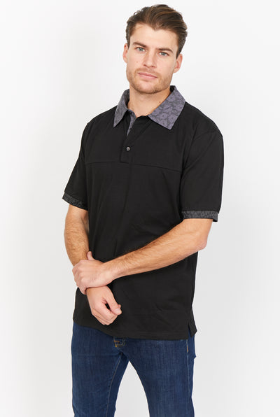 Norm Solid Black Organic Polo Shirt