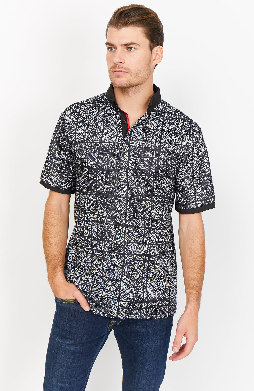 Bradley  Black and White Organic Polo Shirt