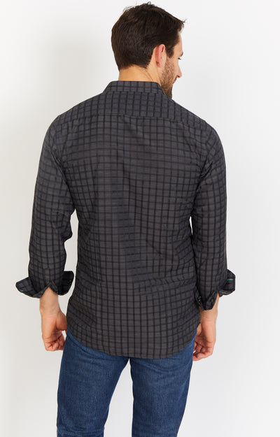 Black Grid Long Sleeve Button Up Shirt and Mask
