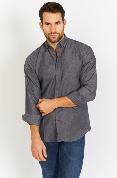 Slate Gray Long Sleeve Button Up Shirt and Mask