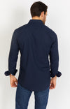 Dark Blue Long Sleeve Button Up Shirt and Mask