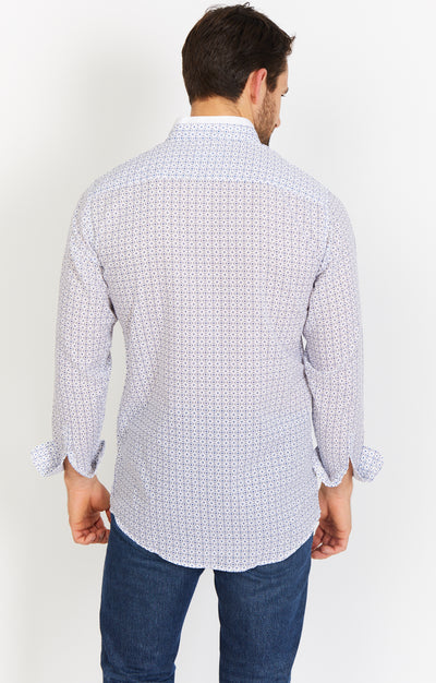 White Blue Print Long Sleeve Button Up Shirt and Mask