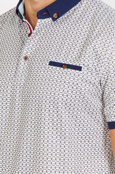 White Design Short Sleeve Polo Shirt