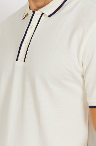 Pastel White Short Sleeve Polo Shirt