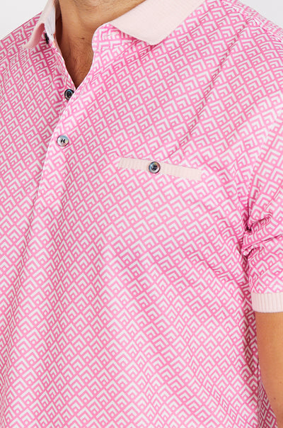 Patterned Pink Short Sleeve Polo Shirt