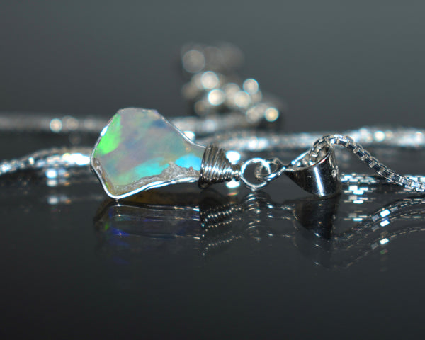 Raw Australian Opal Necklace on Sterling Silver Chain October Birthstone Necklace Opal Jewelry