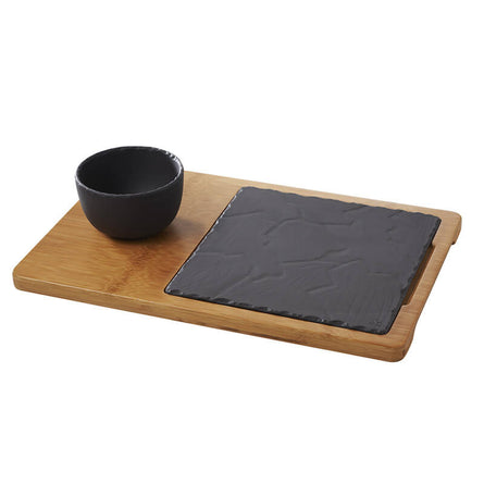Revol Bamboo Double-Well Tray with Basalt Plate & Bowl
