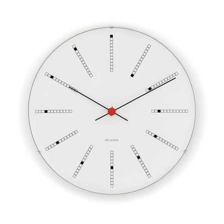 Arne Jacobsen Bankers Wall Clock 16cm, White/Black/Red